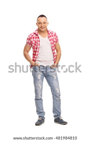 Young guy posing and looking at the camera isolated on white background