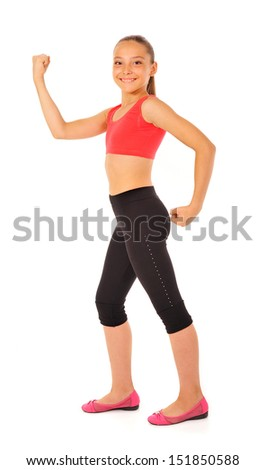young gymnast in a sportwear on a white background.Sporting exercises.Aerobics.Flexibility.
