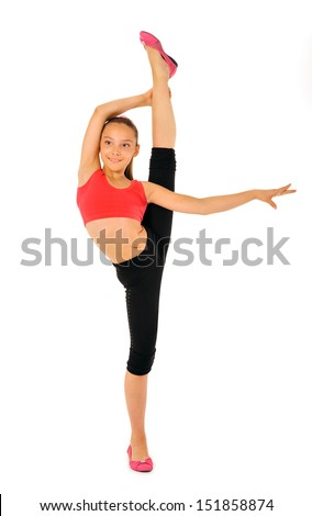 young gymnast in a sportwear on a white background.Sporting exercises.Aerobics.Flexibility.Plastic study.Bar on one leg.