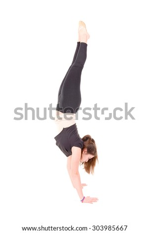 young gymnast isolated in white background