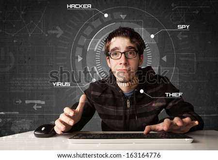 Young hacker in futuristic enviroment hacking personal information on tech background