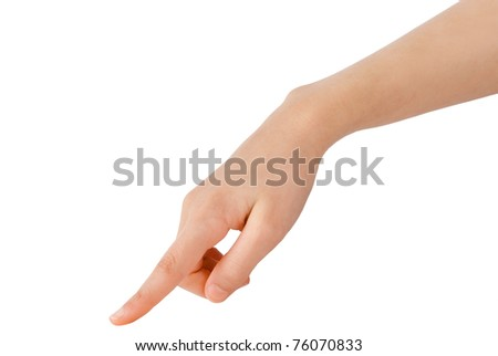 young hand in the gesture of touching, pushing, indicating - stock photo