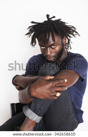 young handsome afro american man, angry look, weed junky isolated on white, problem teenage - stock photo