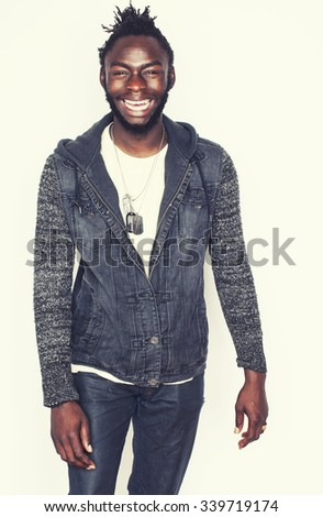 young handsome afro american man gesturing emotional posing isolated on white background stylish hipster