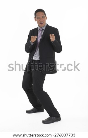Young handsome Asian Corporate Man pointing with two fingers over white background