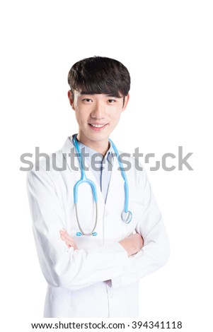 young handsome Asian man doctor working on white background