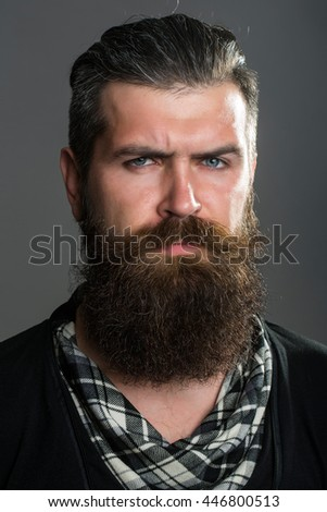 young handsome bearded man with long beard moustache and brunette hair in studio on grey background
