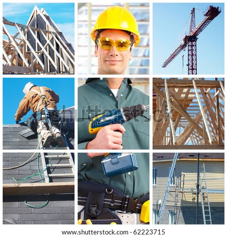 Young handsome builder. Construction - stock photo
