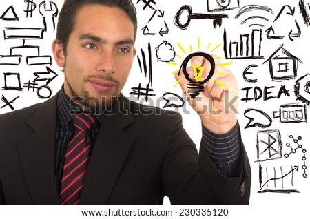 young handsome businessman drawing light bulb on whiteboard with marker concept of bright idea inspiration creativity - stock photo