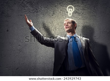 Young handsome businessman in room gesturing with hand