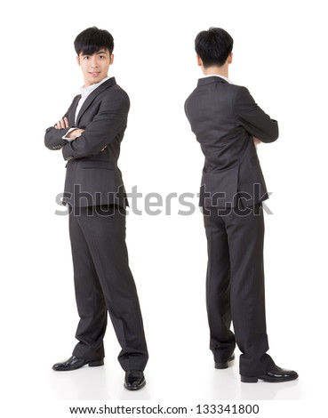 Young handsome businessman of Asian, full length portrait isolated on white background with front and rear view. - stock photo