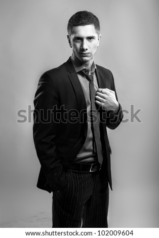 Young handsome businessman posing wearing suit - stock photo
