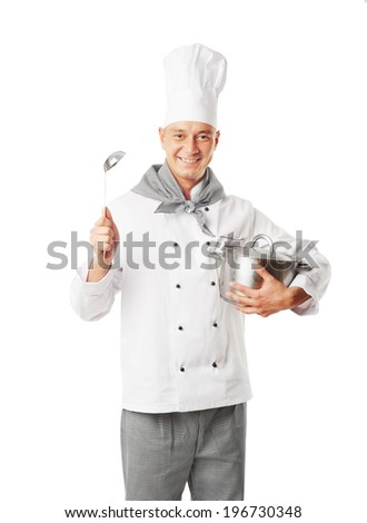 young handsome chef with dishes isolated on white background - stock photo