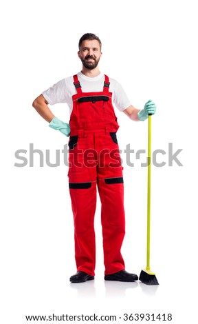 Young handsome cleaner - stock photo