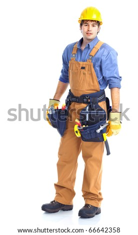 Young handsome contractor in yellow uniform. Isolated over white background - stock photo