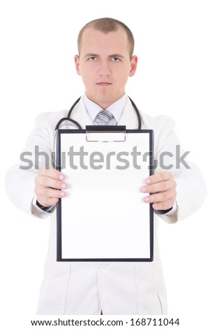 young handsome doctor showing folder with copy space for text isolated on white background - stock photo