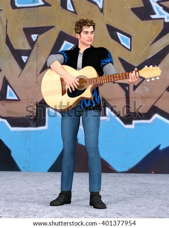 Young handsome guitarist playing the acoustic guitar outdoors. 3d illustration - stock photo
