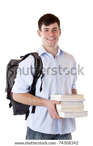 Young, handsome, happy student with books and backpack. Isolated on white background. - stock photo