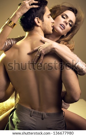 Young handsome lovers - stock photo