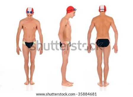 Young handsome male athlete, swimmer with goggles and swimming cap.  Studio shot.  Triple  shot, three start positions. - stock photo