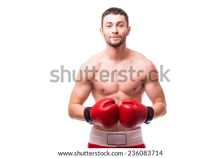Young handsome male boxer fighter isolated on white background