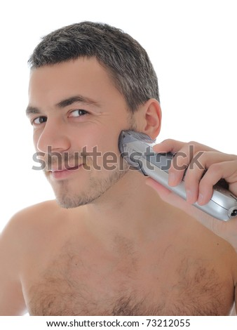 Young handsome male shaving face beard . isolated on white background - stock photo
