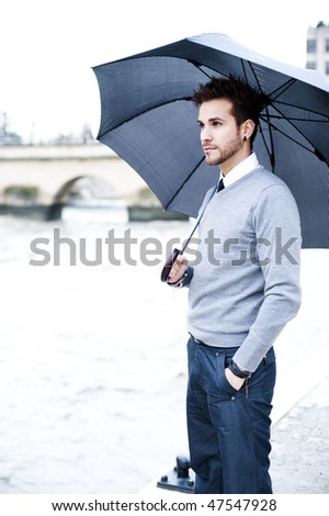 Young handsome man close portrait. - stock photo