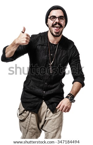 young handsome man dressed casually with different emotions. showing gesture cool, ok, fine. isolated on white background - stock photo