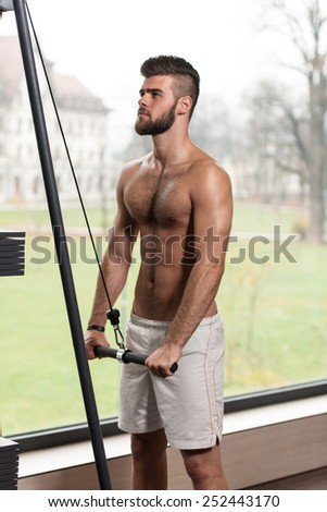 Young Handsome Man Exercise Triceps On Cable Machine