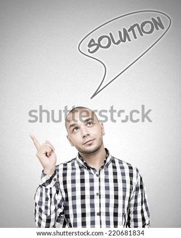 Young handsome man got solution for his problem.  - stock photo