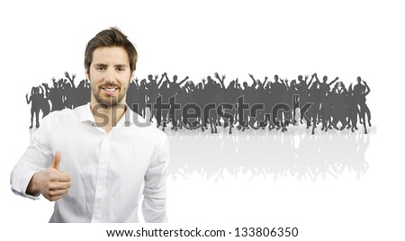 young handsome man in a crowd. people silhouettes background - stock photo