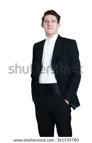 Young handsome man in black suit smiling isolated on white background - stock photo