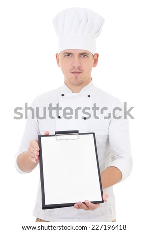 young handsome man in chef uniform showing clipboard with blank paper isolated on white background - stock photo