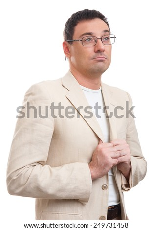 Young handsome man in white suit and glasses looking at copy-space thinking or dreaming - stock photo