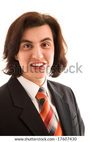 Young handsome man on white isolated background