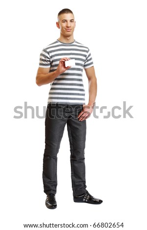 young handsome man with blank business-card