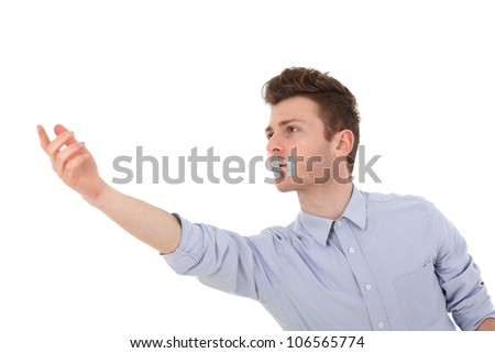 Young handsome man with censorship asking for help - stock photo