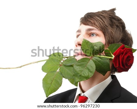 Young handsome man with flower, red rose isolated white background - stock photo
