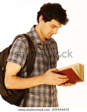 young  handsome men isolated with book and backpack