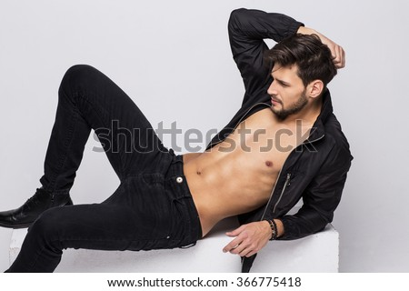 Young handsome model posing  - stock photo