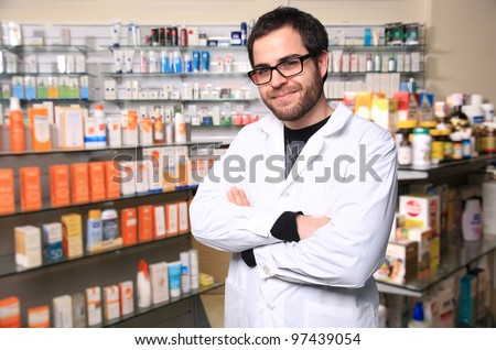 young handsome pharmacist - stock photo