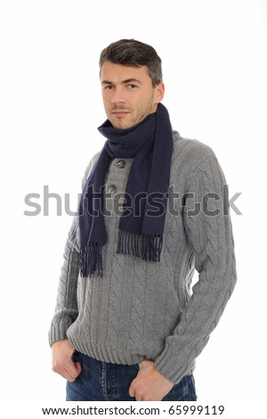 Young handsome possitive man in warm winter casual clothes thinking. isolated on white background