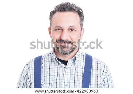 Young handsome repairman or mechanic in close up looking happy and smiling isolated on white background - stock photo