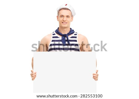 Young handsome sailor holding a blank banner and looking at the camera isolated on white background - stock photo