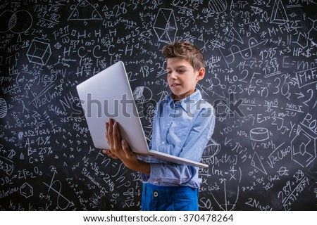 Young handsome school boy - stock photo