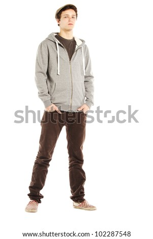 Young handsome serious man with hip style against white background - stock photo