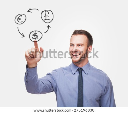 Young handsome smiling man with money icons isolated