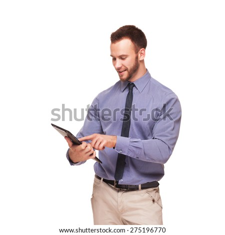 Young handsome smiling man with tablet computer isolated on white background