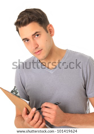Young handy man with clipboard - stock photo