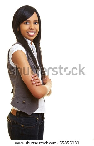 Young happy african woman looking into the camera - stock photo